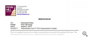 Memo on Budget Sequestration